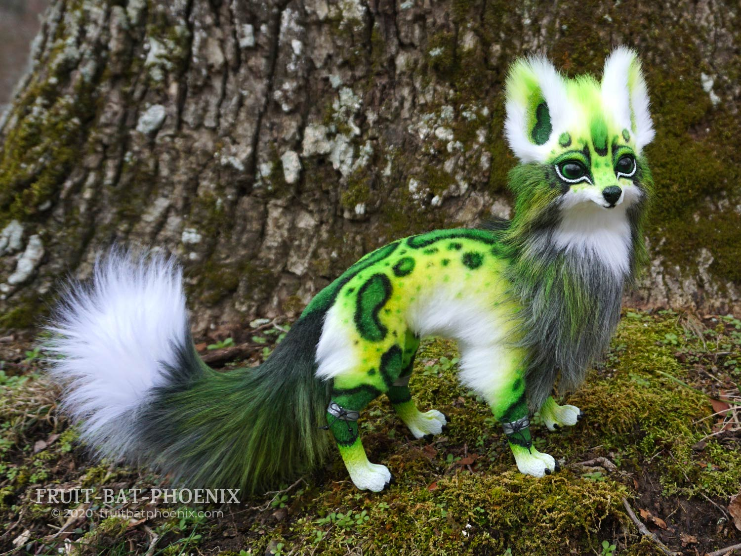 Chlorophyll Fox, a green spotted posable fox creature art doll